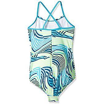 Nike Swim Big Girls' Crossback One Piece Swimsuit, Light Blue, Blue, Size Large