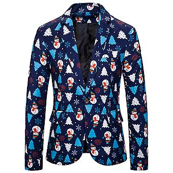 YANGFAN Mens Christmas Novelty Printed Suit Jacket Casual Blazer