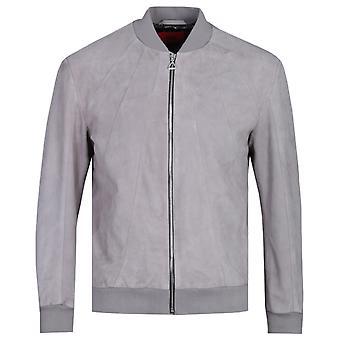 HUGO Leontes Stone Grey Suede Bomber Jacket