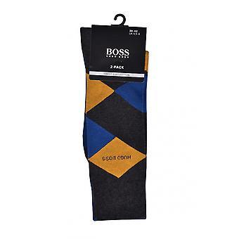BOSS Footwear & Accessories Boss 2 Pack Diamond Socks Charcoal
