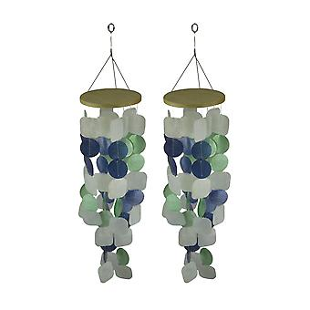 Coastal Blue & Green Capiz Shell Wind Chime for Garden Patio Yard Set of 2