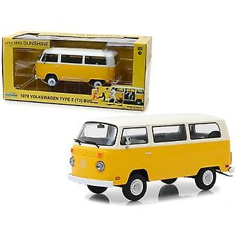 1978 Volkswagen Type 2 (T2) Bus Yellow with White Top Little Miss Sunshine (2006) Movie 1/24 Diecast Model par Greenlight