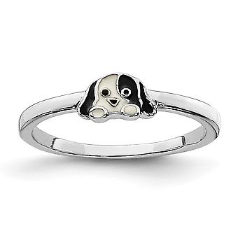 925 Sterling Sølv Rhodium belagt for drenge eller piger Enameled Puppy Ring - Ring Størrelse: 3 til 4