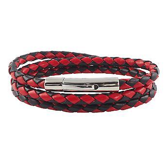 Lederkette Lederband 6 mm Herren Halskette Schwarz / Rot 17-100 cm lang mit Hebeldruck Verschluss Silber geflochten