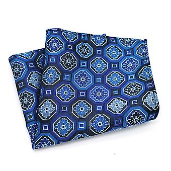 Blue geo pattern men's handkerchief pocket square