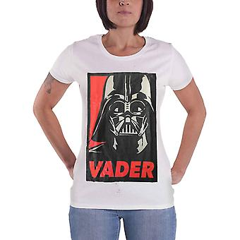 Official Womens Star Wars T Shirt Darth Vader Retro Poster New White Skinny Fit