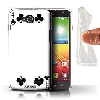 STUFF4 Gel TPU Case/Cover for LG L90/D405/4 of Clubs/Playing Cards