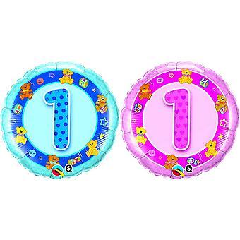 QUALATEX 18inch âge 1 ours en peluche Design feuille circulaire ballon