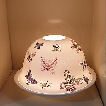 Nordic Lights Coloured Butterflies Ceramic Candle Shade & Tray
