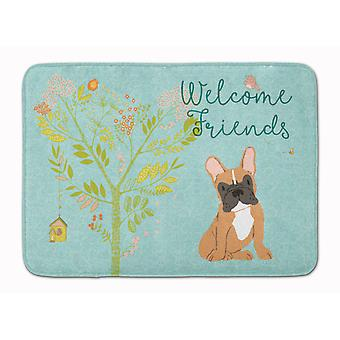 Welcome Friends Fawn French Bulldog Machine Washable Memory Foam Mat