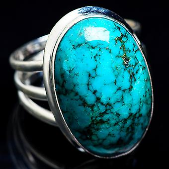 Large Tibetan Turquoise Ring Size 9.75 (925 Sterling Silver)  - Handmade Boho Vintage Jewelry RING3507