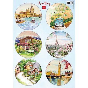 Marianne Design Decoupage Travelling VK9576 6 round designs