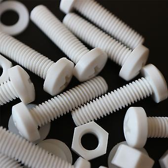 20x valkoinen pan pää polypropeeni (PP) mutterit, pultit, aluslevyt M5 x 20mm