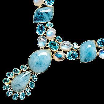 "Natural Aquamarine, Blue Topaz, Rainbow Moonstone Necklace 15"" (925 Sterling Silver)  - Handmade Boho Vintage Jewelry NEC12124"
