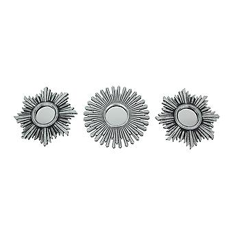 Set of 3 Antique Metallic Silver Finish Geometric Starburst Frame Wall Mirrors