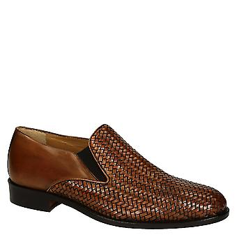 Handmade tan woven leather men's gussets loafers shoes