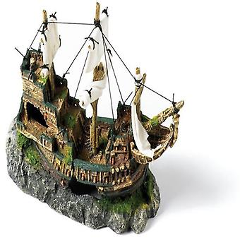 Classic Polyresin Galleon With Sails Fish Tank Ornament