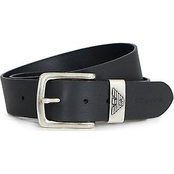 Armani Accessories Eagle Logo Script Leather Belt