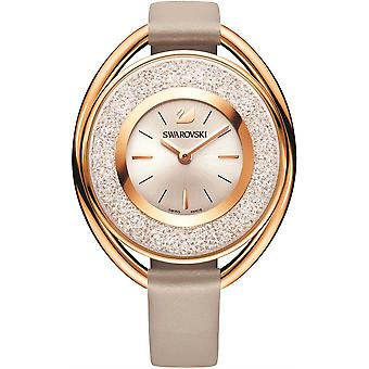 Swarovski 5158544 Rose-Gold Tone PVD Grey Leather Strap Crystalline Oval Ladies Watch