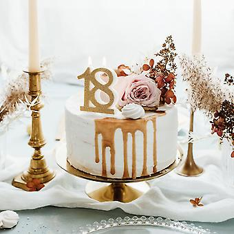 Gold Glitter Birthday Candle Number 18, Cake Decoration 7.5cm