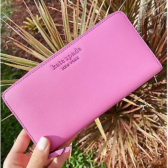 Kate spade cameron neda zip around continental wallet bright peony pink
