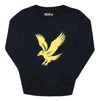 Boy's Lyle und Scott Junior Logo Crew Fleece Pullover in blau