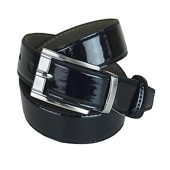 Boys Shiny Black Faux Leather Belt