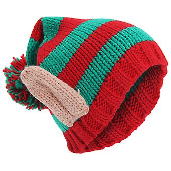 Adults Unisex Knitted Christmas Design Winter Bobble Hat With 3D Ears