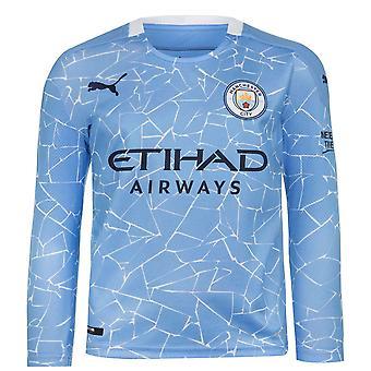 Puma Kids Manchester City Home Long Sleeve Shirt 2020 2021 Junior Crew Neck Top