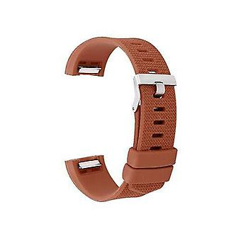 Watch strap for fitbit charge brown silicone rubber sizes small and large
