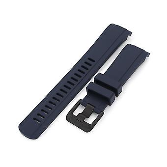 Strapcode rubber watch strap 22mm crafter blue - cb10 blue rubber curved lug watch band for seiko skx007 wcp42397