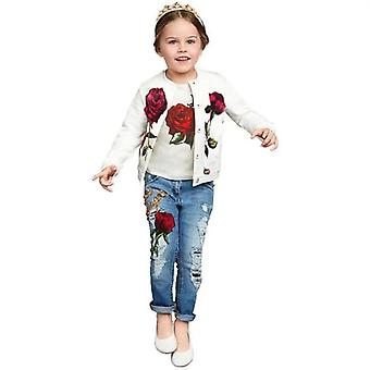 Girls Rose Jacket Top And Jeans Outfit