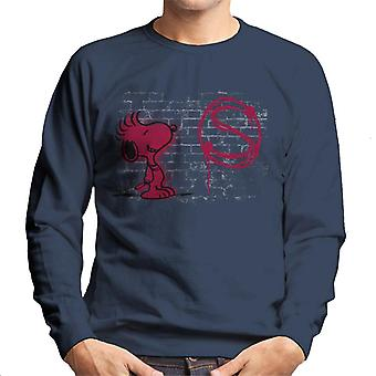 Peanuts Snoopy Red S Graffiti Men's Sweatshirt