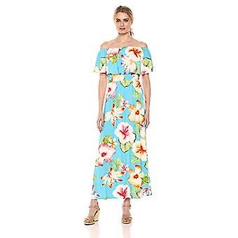 28 Palms Women's Tropical Hawaiian Print Off Shoulder Maxi Dress, Oversize Fl...
