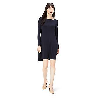 Brand - Daily Ritual Women's Jersey Long-Sleeve Bateau-Neck Dress, Navy, X-Large