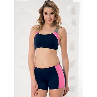 Aqua Perla Womens Sporty Navy Blue Bikini Bottom