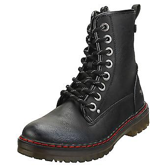 Mustang Lace Up Side Zip Womens Biker Boots in Graphite