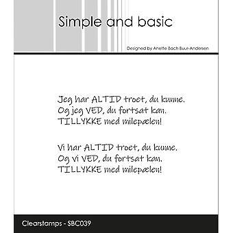 Enkla och grundläggande danska texter 6 Clear Frimärken