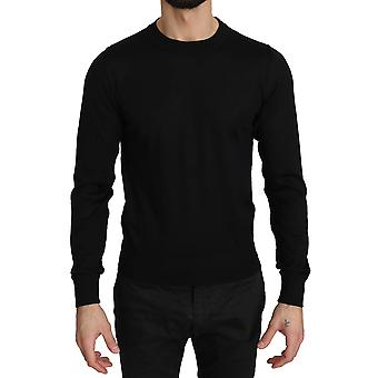Dolce & Gabbana Black Wool Crew Neck Pullover Sweater