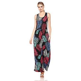28 Palms Women's Tropical Hawaiian Print Sleeveless Maxi Dress, Rainbow Frond...