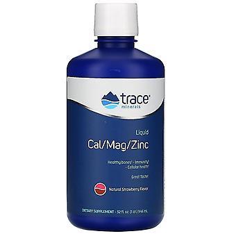 Trace Minerals Research, Liquid Cal/Mag/Zinc, Natural Strawberry Flavor, 32 fl o