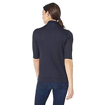 Lark & Ro Women's Elbow Length Sleeve Light Weight Turtleneck, Navy, X-Small