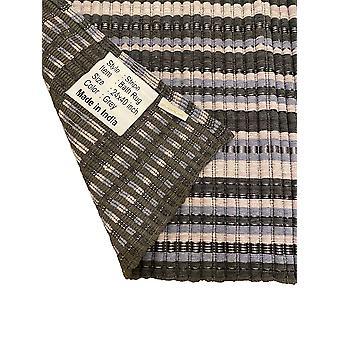 Spura Home Striped Floor Cover Carpet Handmade Cotton Contemporary Striped Bath Rug Set of 2