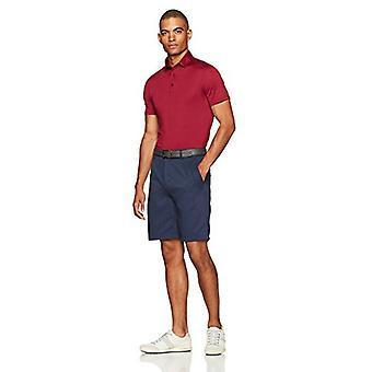 Essentials Menn's Tech Stretch Polo Skjorte, Maroon Heather, Liten
