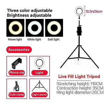 26cm/10.2inch 16cm/6inch Led Selfie Ring Light With Stand Studio Photography Photo Ring Fill Light Tripod For Smartphone