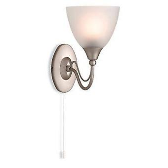 1 Light Switched Single Wall Light Satin Steel, Opal Glass Shade, E14