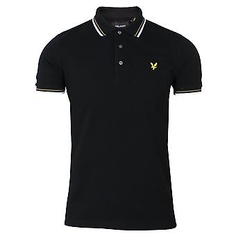 Lyle & scott men's jet black and white tipped polo shirt