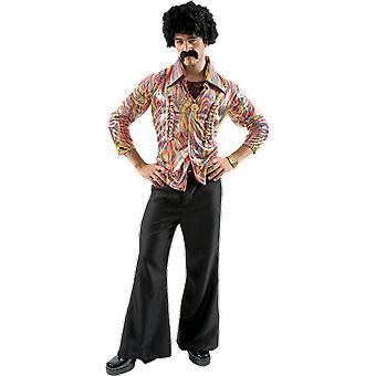 Orion kostuums mens 70s Disco Dancer hippie shirt en uitlopende broek fancy dress