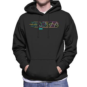 Back to the Future Neon Hoverboard Outline Men's Hooded Sweatshirt