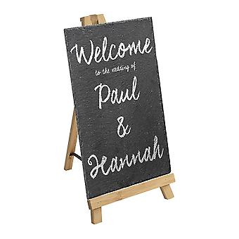 2 Piece Small Wooden Easel and Slate Chalk Board Set - Wedding or Special Events Display